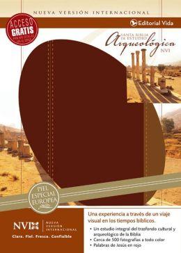 NVI Biblia Arqueologica, Cuero Europeo, Vino/Cafe