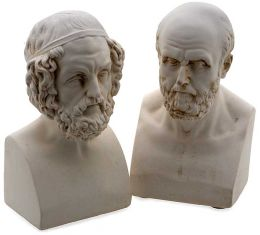 Homer and Aristotle Cast Marble Bookends Set of 2