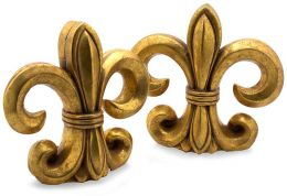 Faux Gold Finish Resin Fleur de Lis Bookends Set of 2