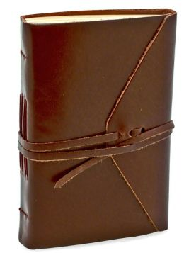 Bombay Brown Leather Wrap Journal with Tie (4