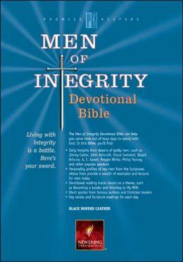 Men of Integrity Devotional Bible: New Living Translation (NLT), black bonded leather)