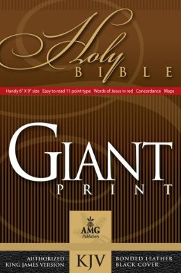Handy Size Giant Print (10 point type) Holy Bible: KIng James Version (KJV), black bonded leather, gold-edged, words of Christ in red, with concordance