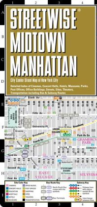 Streetwise Midtown Manhattan Map - Laminated City Center Street Map of Midtown Manhattan, NY - Folding Pocket Size Travel Map With Subway (2012)