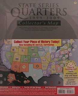 State Series Quarters 1999-2009 Collectors Map (Gray Fold)