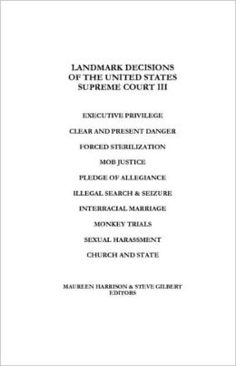 Landmark Decisions Of The United States Supreme Court Iii