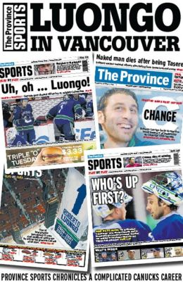 Luongo in Vancouver: Province Sports chronicles the complicated Canucks career
