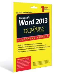 Word 2013 For Dummies eLearning Course Access Code Card (12 Month Subscription)