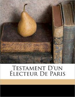 Testament D'Un Lecteur De Paris