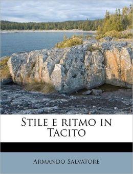 Stile e ritmo in Tacito
