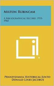 Milton Rubincam: A Bibliographical Record, 1935-1960