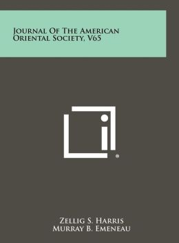 Journal Of The American Oriental Society, V65