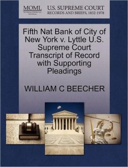 Fifth Nat Bank Of City Of New York V. Lyttle U.S. Supreme Court Transcript Of Record With Supporting Pleadings