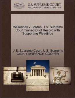 McDonnell v. Jordan U.S. Supreme Court Transcript of Record with Supporting Pleadings