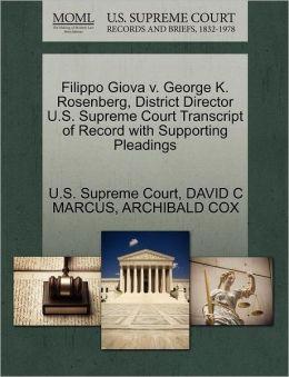 Filippo Giova v. George K. Rosenberg, District Director U.S. Supreme Court Transcript of Record with Supporting Pleadings