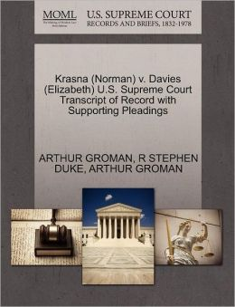 Krasna (Norman) V. Davies (Elizabeth) U.S. Supreme Court Transcript Of Record With Supporting Pleadings