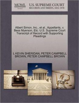Albert Simon, Inc., Et Al., Appellants, V. Bess Myerson, Etc. U.S. Supreme Court Transcript Of Record With Supporting Pleadings