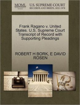 Frank Ragano V. United States. U.S. Supreme Court Transcript Of Record With Supporting Pleadings