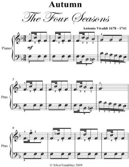 Autumn the Four Seasons Easy Piano Sheet Music