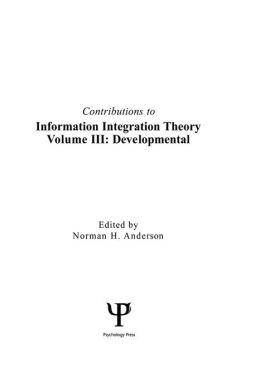 Contributions To Information Integration Theory: Volume 3: Developmental