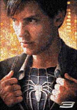 Spider-Man 3 Peter Parker Photomosaic 300 Piece Puzzle With Poster