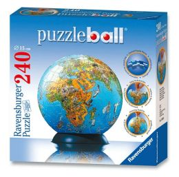 Illustrated World Map Puzzleball - 240 pieces