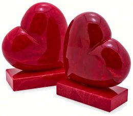Floating Red Heart Italian Alabaster Bookends Set of 2