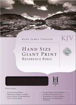 KJV Hand Size Giant Print Reference Bible, Black Genuine Leather