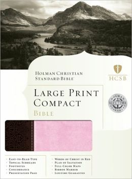 HCSB Large Print Compact Bible, Chocolate/Pink LeatherTouch