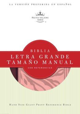 RVR 1960 Biblia Letra Grande Tamano Manual con Referencias, borravino/rosado simil piel