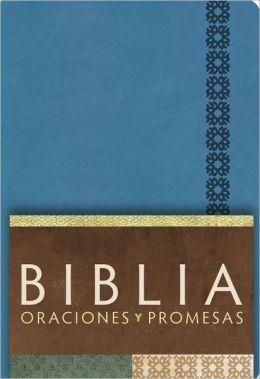 RVC Biblia Oraciones y Promesas - Azul Cobalto simil piel con indice