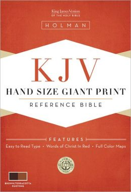 KJV Hand Size Giant Print Reference Bible, Brown/Terracotta LeatherTouch