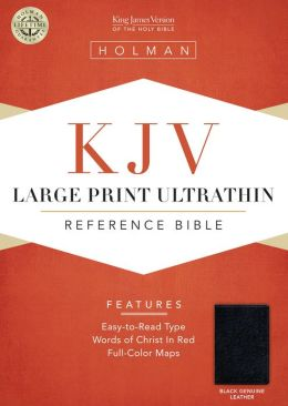 KJV Large Print Ultrathin Reference Bible, Black Genuine Leather