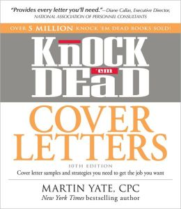 Sample cover letter martin yate cover letter examples for Knock em dead cover letters pdf