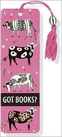 Safari Cows Beaded Paper Bookmark