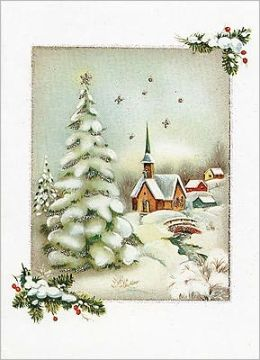 VINTAGE WINTER CHURCH CHRISTMAS BOXED CARD