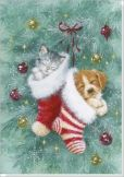 Product Image. Title: Stocking Pets Small Boxed Holiday Cards