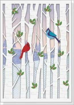 Birds in Birches Laser Cut Christmas Boxed Card