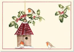 Birdhouse With Holly Christmas Boxed Card