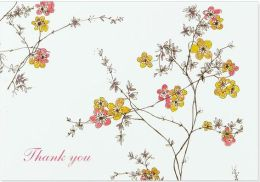 Flowering Vines Thank You Note Card Set of 14