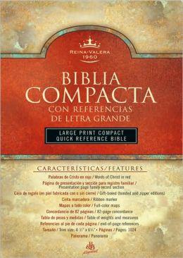 RVR 1960 Biblia Compacta Letra Grande con Referencias, negro piel fabricada con cierre