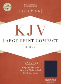 KJV Large Print Compact Bible, Blue Bonded Leather with Snap Flap