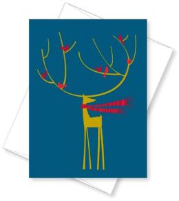 Reindeer with Birds Christmas Boxed Card