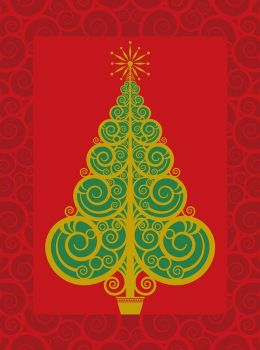 Tree On Swirls Christmas Boxed Card
