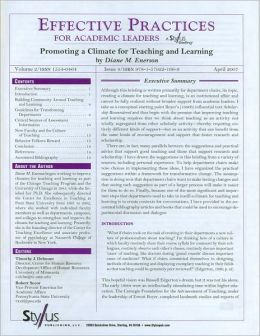 Effective Practices for Academic Leaders: Promoting a Climate for Teaching and Learning