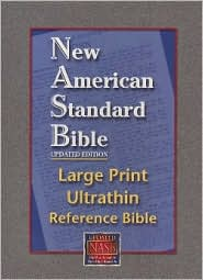 Large Print Ultrathin Reference Bible: New American Standard Bible, Updated Edition (NASB), black genuine leather, 10-point type