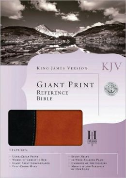 KJV Giant Print Reference Bible, Black/Tan Simulated Leather