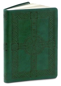 Green Embossed Celtic Cross Lined Flexi Journal (5