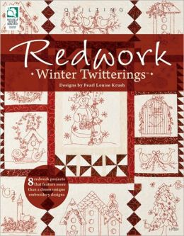Redwork Winter Twitterings Pearl Louise Krush
