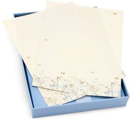 Stationery Set Blue and Gold Flowers