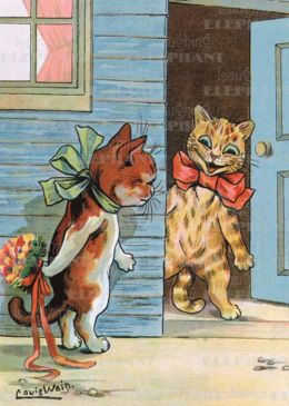Cat Hiding Bouquet - Romance Greeting Card